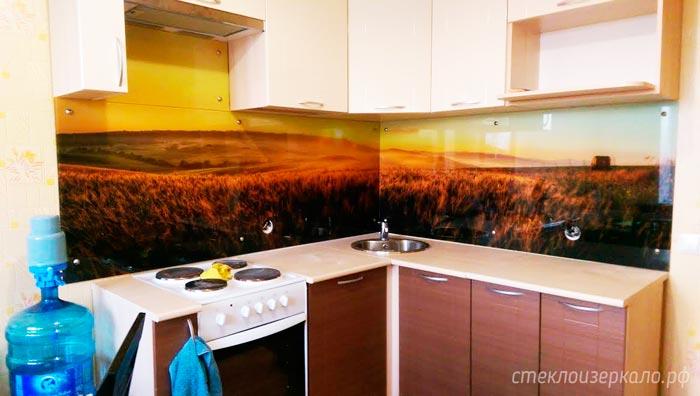 Кухонный фартук из стекла с фотопечатью пейзаж и солнце
