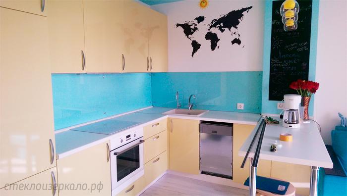 Кухонный фартук из стекла с фотопечатью однотонный голубой
