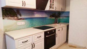 Кухонный фартук из стекла с фотопечатью море и пляж