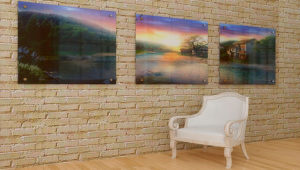 Модульная картина с пейзажами в гостиной
