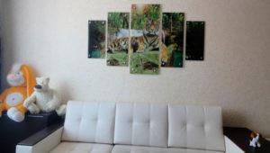 Тигр на стекле модульной картины 5 шт.