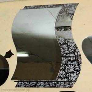 Дизайнерское зеркало с пескоструйным рисунком в ванную комнату