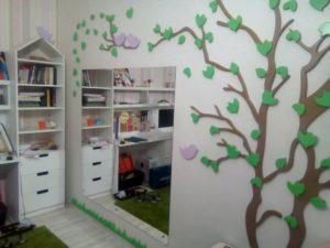 Зеркало в детской комнате с защитной пленкой безопасности